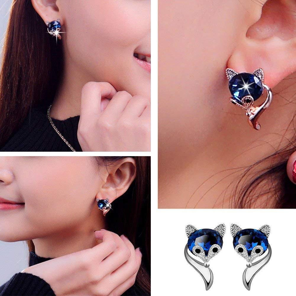 Wintefei Cute Cartoon Fox Shape Rhinestone Ear Studs Earrings Fashion Women Jewelry Gift Silver