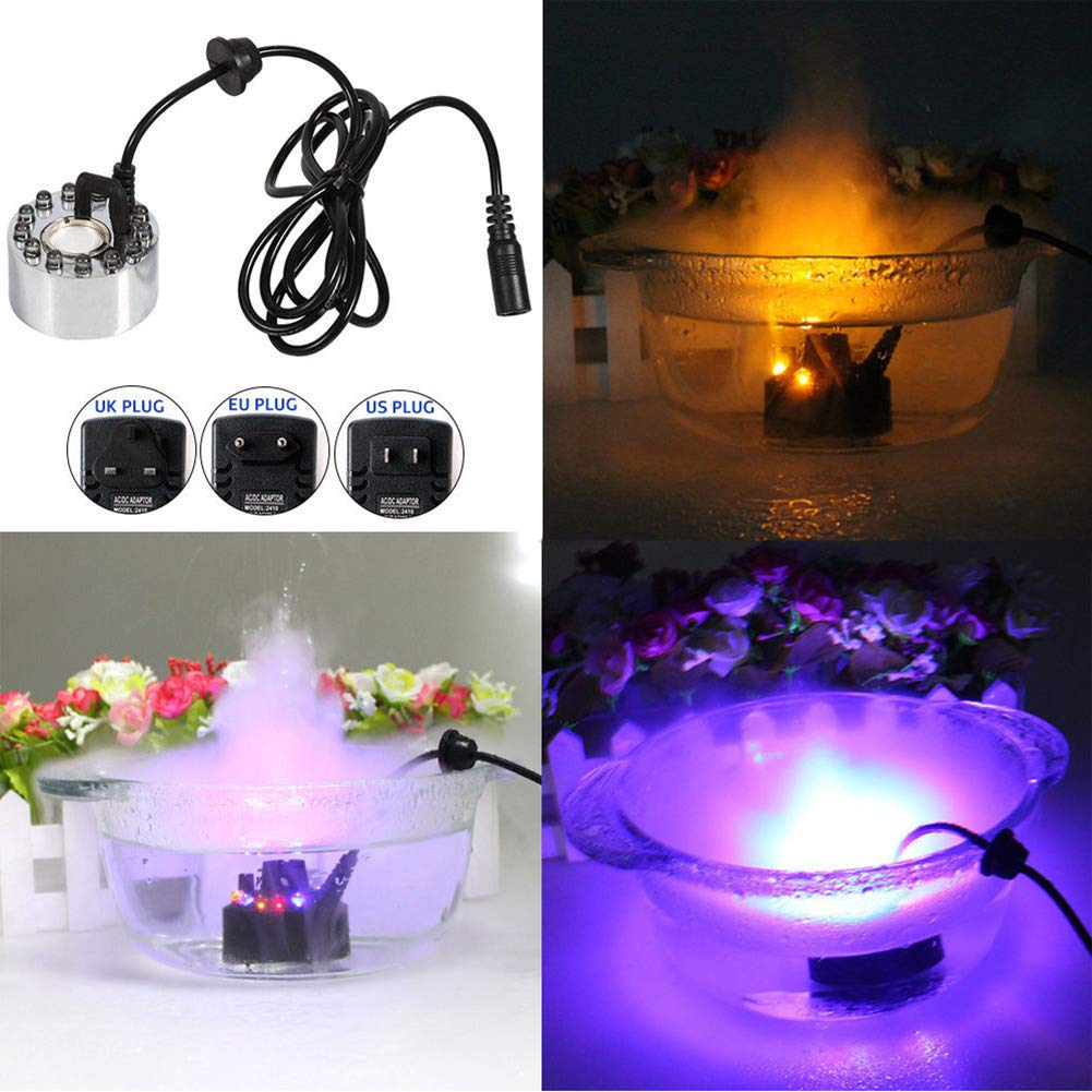YOEDAF Mini Water Fog Mist Maker 24V 12 LED Colored Light Fogger Air Humidifier Water Fountain Pond with Power Adapter for Halloween Party Landscape Decoration(US Plug)