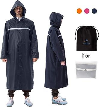 100/% Wasserdicht HOCK NEUHEIT Regenponcho Extra Lang mit Kapuze und Brusttasche Leichter Regenschutz Unisex Regencape