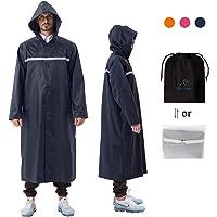 Hooded Rain Coat Rain Jacket for Adults Waterproof Reusable Lightweight Rain Poncho for Men Women Rainwear Rain Gear for Camping Hiking Travelling Emergency Festival Theme Park Outdoor