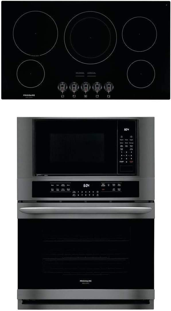 "Frigidaire 2 Piece Kitchen Appliances Package with FGMC3066UD 30"" Electric Double Wall Oven/Microwave Combo and FGEC3648UB 36"" Electric Cooktop in Black Stainless Steel"