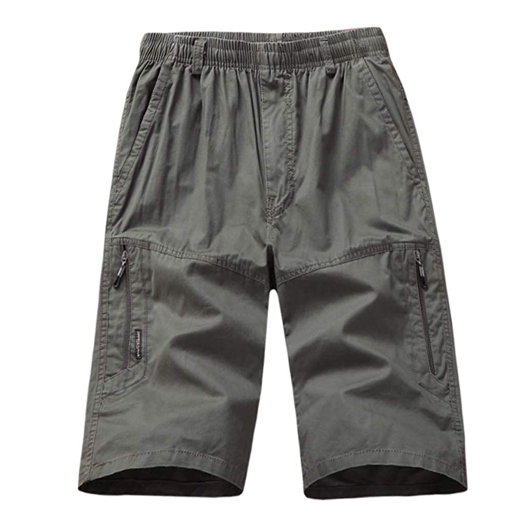 Allywit Men Fashion Cotton Casual Cargo Zipper Pants Washed 3//4 Length Pants Big and Tall