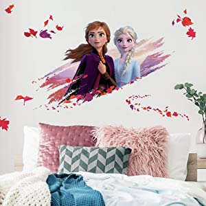 RoomMates Disney Frozen 2 Elsa And Anna Giant Peel And Stick Wall Decals,purple, orange, red