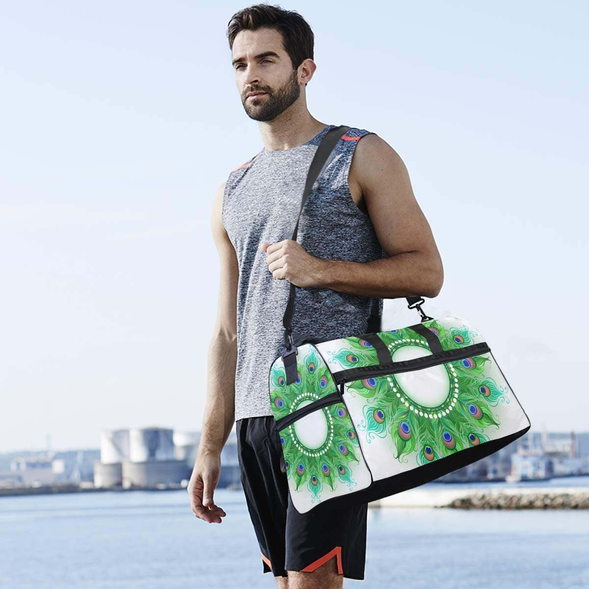 Boho Mandala Peacock Feathers Sports Gym Bag with Shoes Compartment Travel Duffel Bag for Men and Women