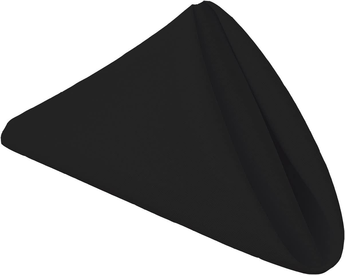 Gee Di Moda Cloth Napkins - 17 x 17 Inch Black Solid Washable Polyester Dinner Napkins - Set of 12 Napkins with Hemmed Edges - Great for Weddings, Parties, Holiday Dinner & More