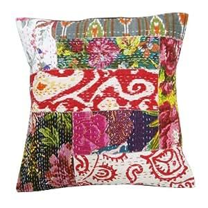 Caso Cojín Algodón almohada cubierta Multicolor Decoración Kantha Patch Work Indian Art 18 pulgadas