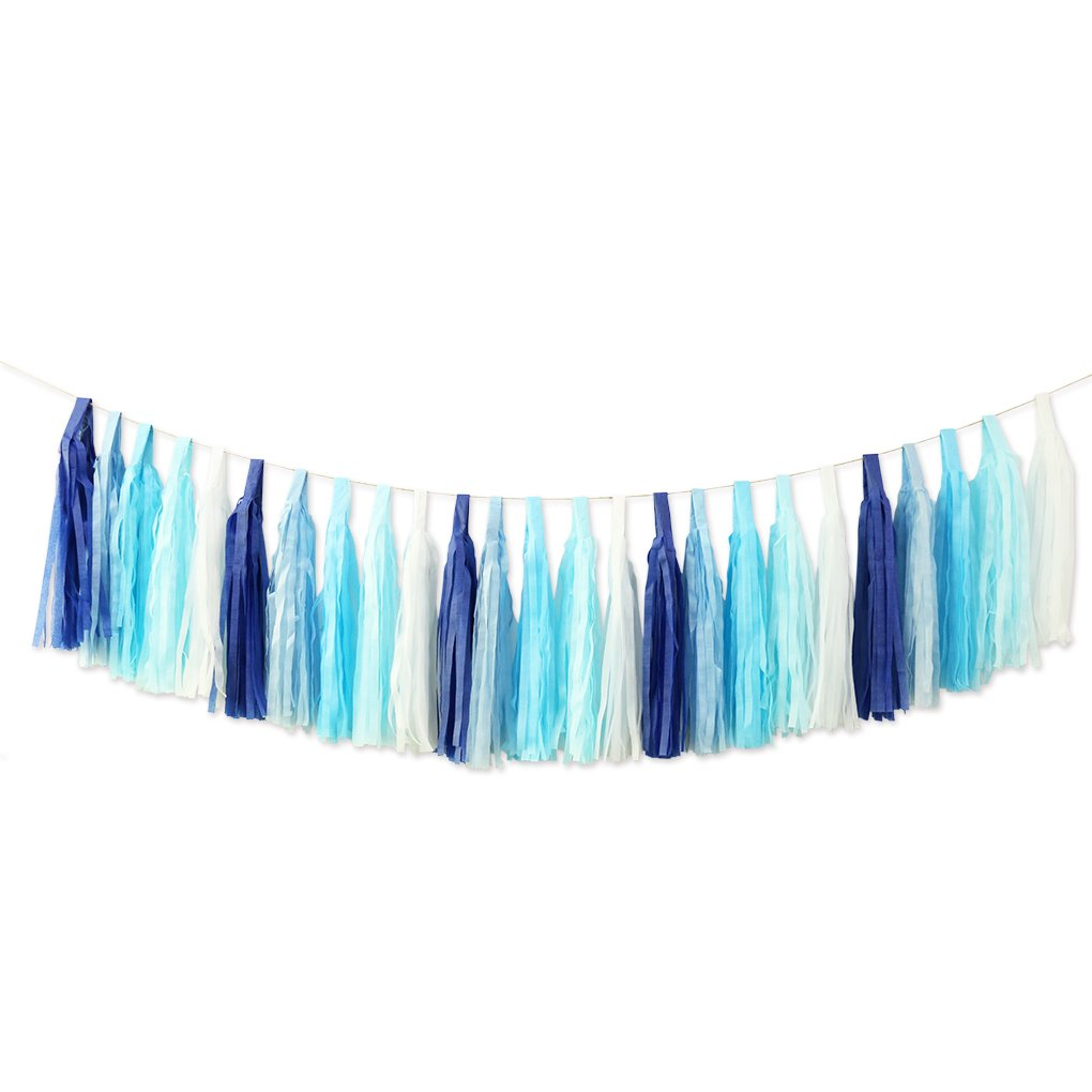 25pcs DIY Assembled Tissue Paper Party Tassel Garland Pom Poms for Wedding Birthday Baby Shower Party Decorations Blue