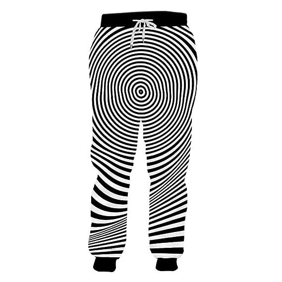 Hombre Creativo pantalón de chándal a Rayas Blanco Negro Unisex ...