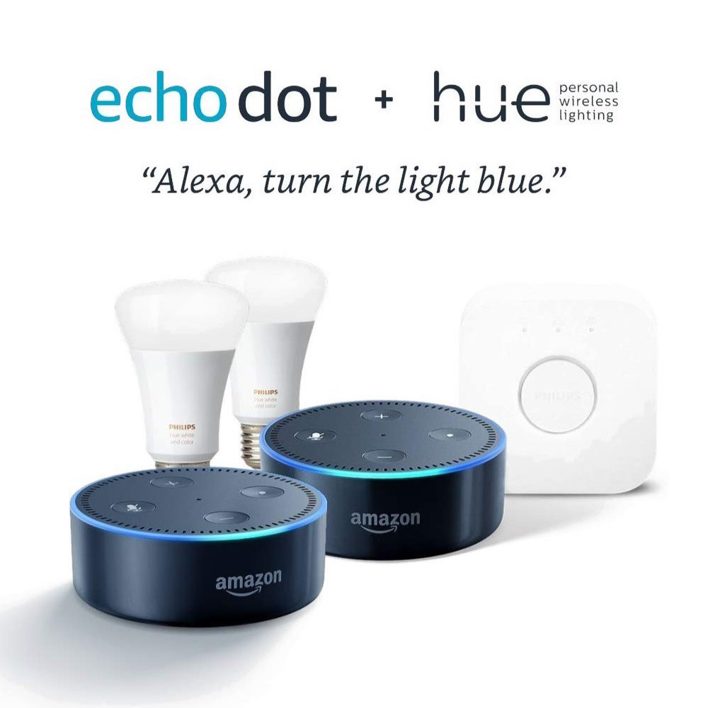Philips Hue White and Color Starter Kit + Echo Dot 2 Pack (Black)