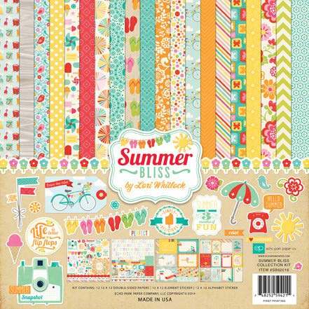 Echo Park Paper Company Summer Bliss Scrapbooking Collection Kit by Lori Whitlock Features Cameras, Bicycles, Beach Pails, Ice Cream, Flip Flops, Butterflies, Flowers, and More