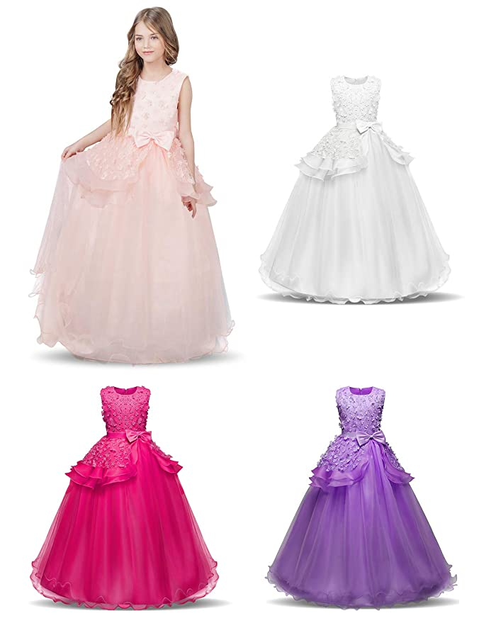 NNJXD Girls Sleeveless Embroidery Princess Pageant Dresses Prom Ball Gown 5-14 Years: Amazon.co.uk: Clothing