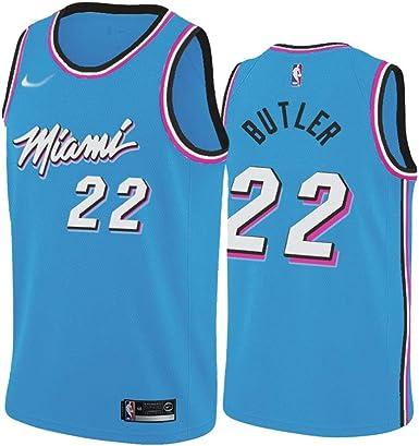 Z//A Miami Heat Jimmy Butler N/º 22 Hombres Y Uniformes De Baloncesto De Encargo De Las Mujeres Formaci/ón Competencia Transpirable Camiseta De Sudor Absorbente,Rojo,S