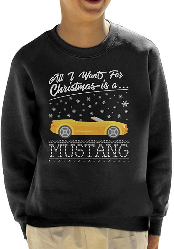 All I Want for Christmas is A Mustang in Yellow Kids Sweatshirt