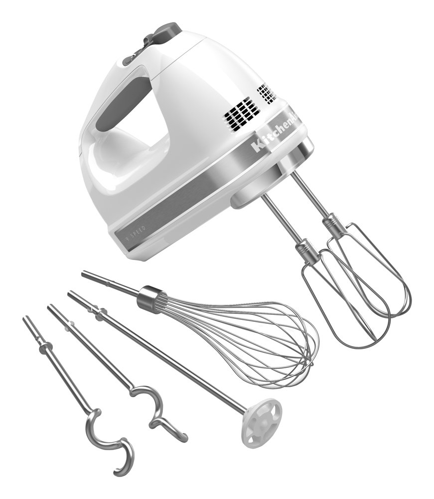 KitchenAid KHM926WH 9-Speed Digital Hand Mixer with Turbo Beater II Accessories and Pro Whisk - White Kitchenaid Kitchen Electrics