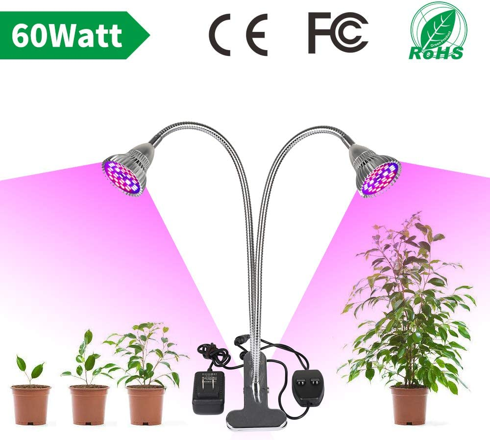 LVJING LED Grow Light for Indoor Plant 60W Full Spectrum Grow Lamp with Dual Head,360° Flexible Gooseneck,Grow Light Bulb and Double Switch