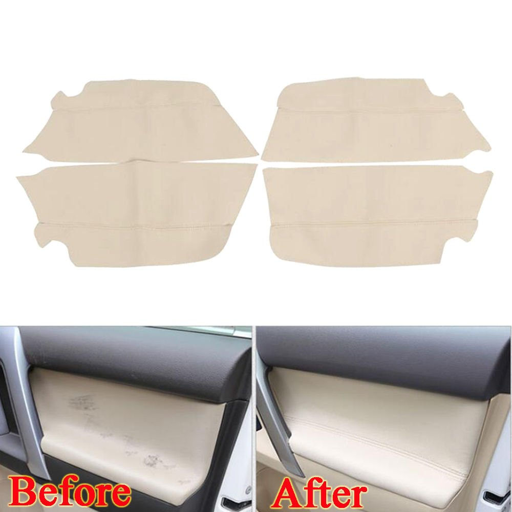 UltaPlay For Toyota Prado PU Leather Door Armrest Cover Trim Decor Panel Car-Covers Interior Anti-scratch Car Styling Accessories 2010-16 [Beige]