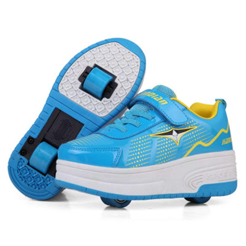 laideqi Roller Skating Sneakers with Double Wheels Kids Boy Girls Pulley Skate Shoes(Blue 39 M EU/6 M US Big Kid)