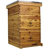 Hoover Hives 10 Frame Langstroth Beehive Dipped in 100% Beeswax Includes Wooden Frames & Waxed Foundations (2 Deep Boxes, 1 M