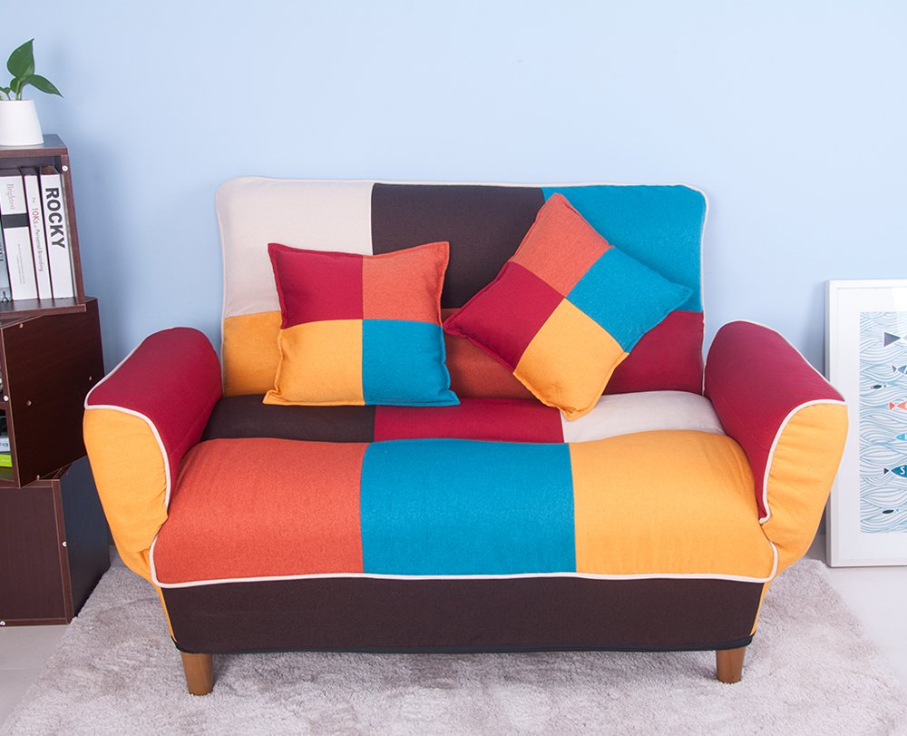 Life Carver Adjustable Back Colorful Patchwork Fabric Sofa Loveseat Couch  Home Furniture 2 Seater Sofa with 2 Free Pillows: Amazon.co.uk: Kitchen &  Home