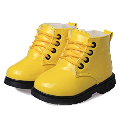 Cattior Toddler Little Kid Patent Leather Lace Warm Kids Shoes Flat Boots (12 M, Yellow)