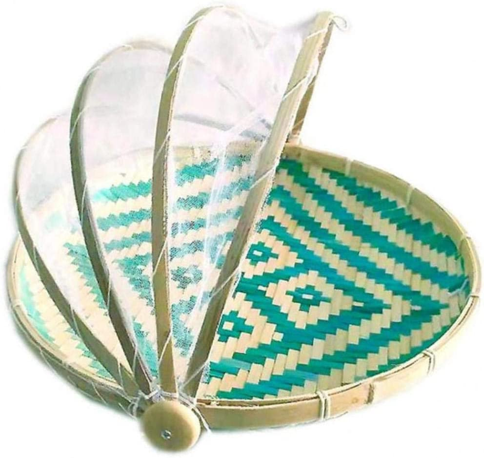 AMOYER 1pc Natural Bamboo Serving Food Tent Handmade Bamboo Woven Bug Proof Wicker Dustproof Picnic Fruit Tray Basket Food Bread Cover with Gauze