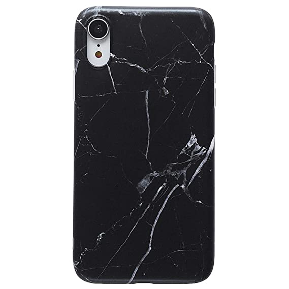 buy popular cf414 c01c3 Amazon.com: iPhone XR Cool Case, Black & White Marble Pattern Design ...