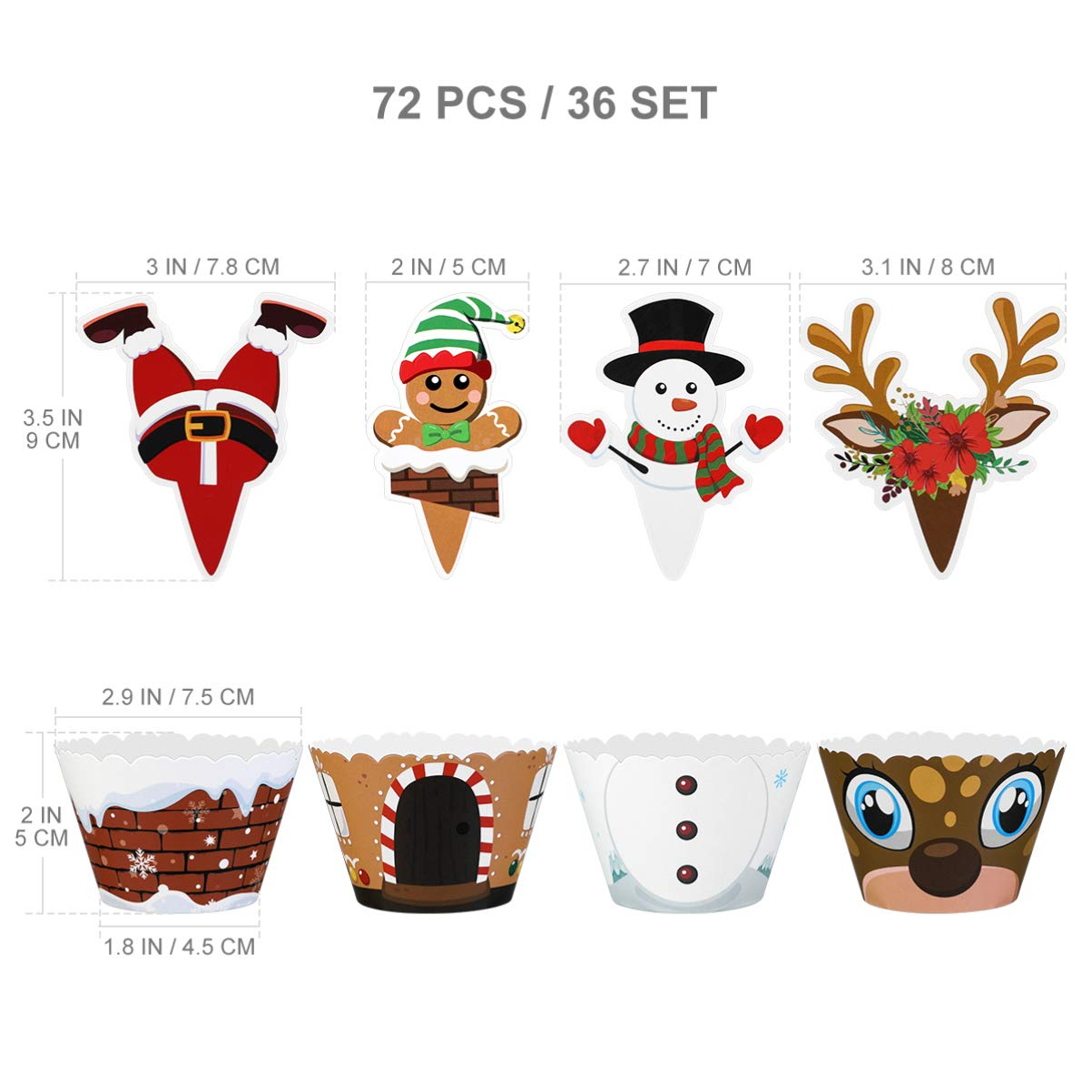 Christmas Cupcake Toppers, Christmas Cake Wrappers Cute Dessert Decoration Party Favors for Christmas 72Pcs