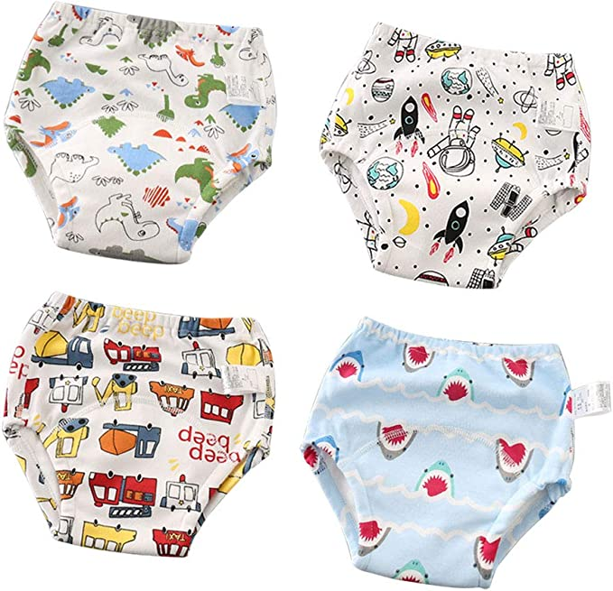 CottonTraining Pants 4 Pack Padded Toddler Potty Training Underwear for Boys and Girls-12M-4T
