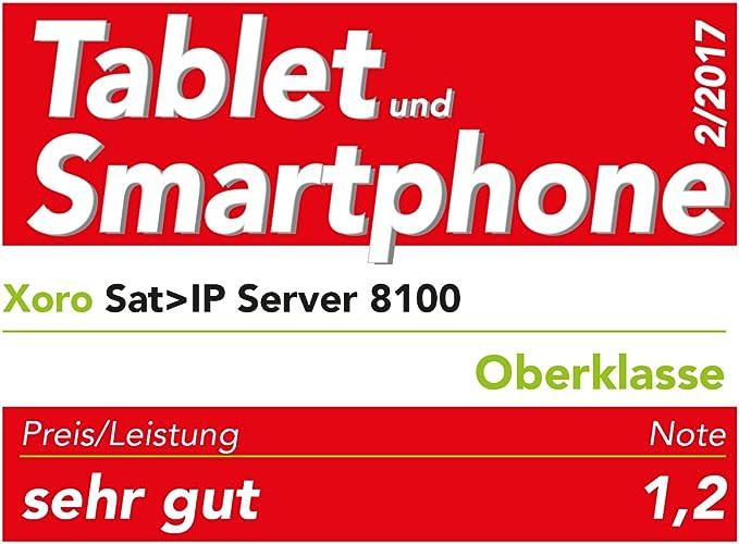 Xoro Sat > IP Server 8100 (4 x DVB-S2 entradas, máxima 8 Salidas, HDTV, Gigabit LAN, TV/Radio streamings Ream) Negro