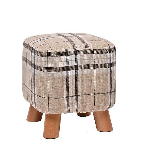 Amazon.com: WENJUN - Taburete de madera cuadrado tapizado ...