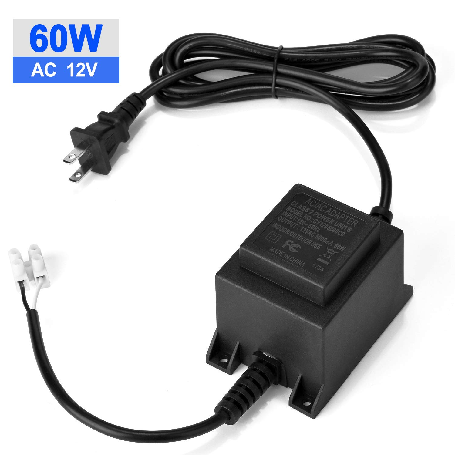voltage converter transformer 110 120v to ac 12v 5a, agptek 60 watt waterproof power supply converter for swimming pool light, water pump, outdoor 12 Volt Plug in Transformer