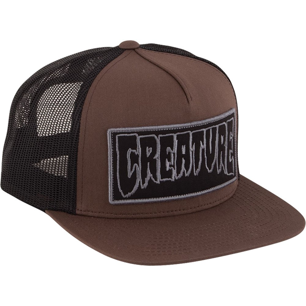 2ffd72f0deb Amazon.com  Creature Skateboards Reverse Patch Brown   Black Mesh Trucker  Hat - Adjustable  Sports   Outdoors