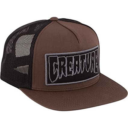 71d6a99f79d Image Unavailable. Image not available for. Color  Creature Skateboards  Reverse Patch Brown   Black Mesh Trucker Hat - Adjustable
