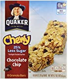 Quaker Chewy Granola Bar, Reduced Sugar, Chocolate Chip, 6.7 oz