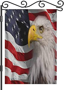 AOYEGO Bald Eagle Garden Flag 12.5x18 Inch Vertical Double Sided American Flag Background Patriot Yard Garden House Flag for Outdoor Indoor Decoration