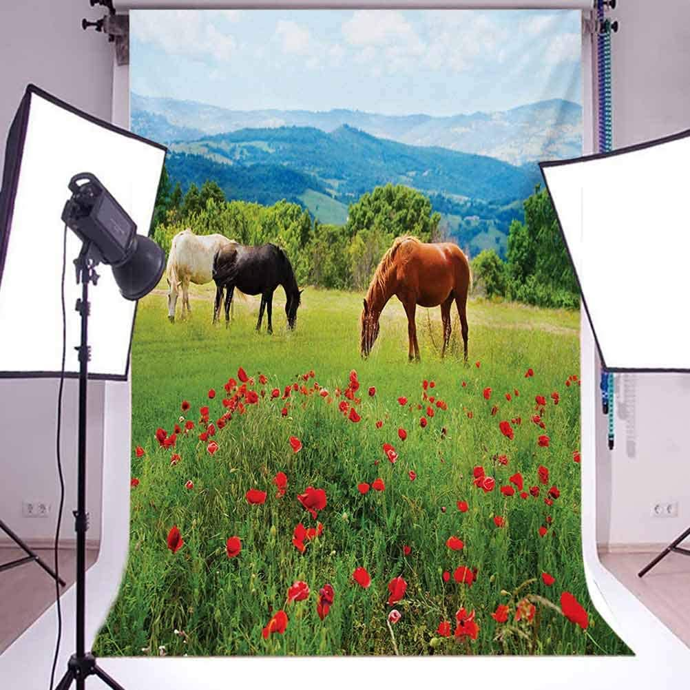 8x10 FT Photography Backdrop Various Kinds of Horses Eating Grass in Field Mountain Landscape Rural Scene Background for Baby Shower Birthday Wedding Bridal Shower Party Decoration Photo Studio