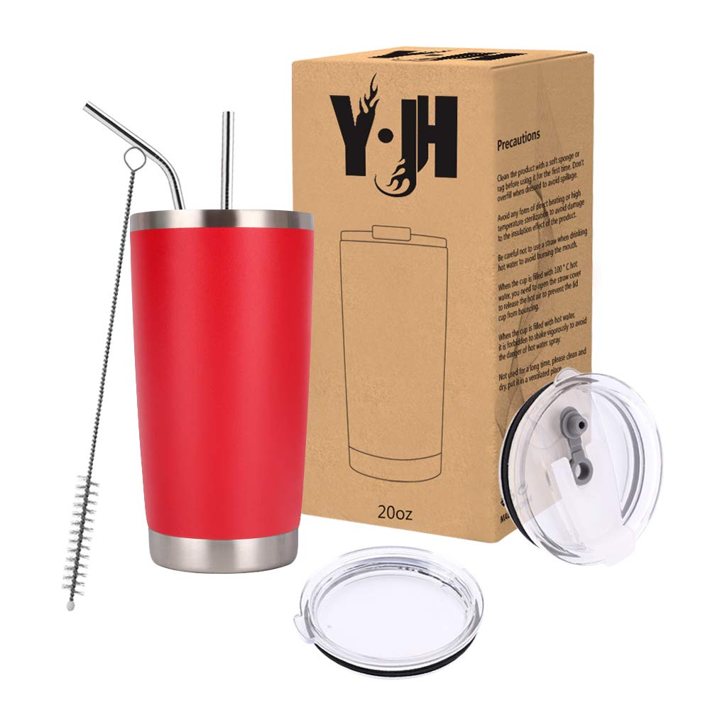 Y·J&H 20oz (550ml) Travel Tumbler Double Wall Vacuum Insulated Coffee Mug Stainless Steel Coffee Cup with 2 Splash Proof Lid, 2 Straws & Free Cleaning Brush, BPA Free - Red