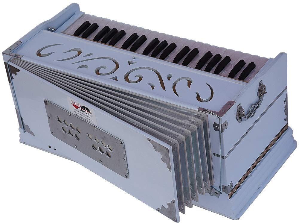 Harmonium White Pro Grade By Kaayna Musicals, 11 Stop- 6 Main & 5 Drone, 3½ Octaves, Coupler, Gig Bag, Bass/Male Reed Tuned- 440 Hz, Suitable for Peace, Yoga, Bhajan, Kirtan, Shruti, Mantra, etc by Kaayna Musicals (Image #6)