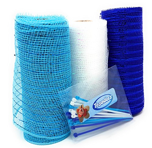 Winter Snowflake Holiday Blue Decorative 5 Yard Mesh Rolls (Pack of 3) for Crafting Wreaths with Zip Ties for Securing Mesh to Frames (Blue, - Frames With Wreath Ties Wire