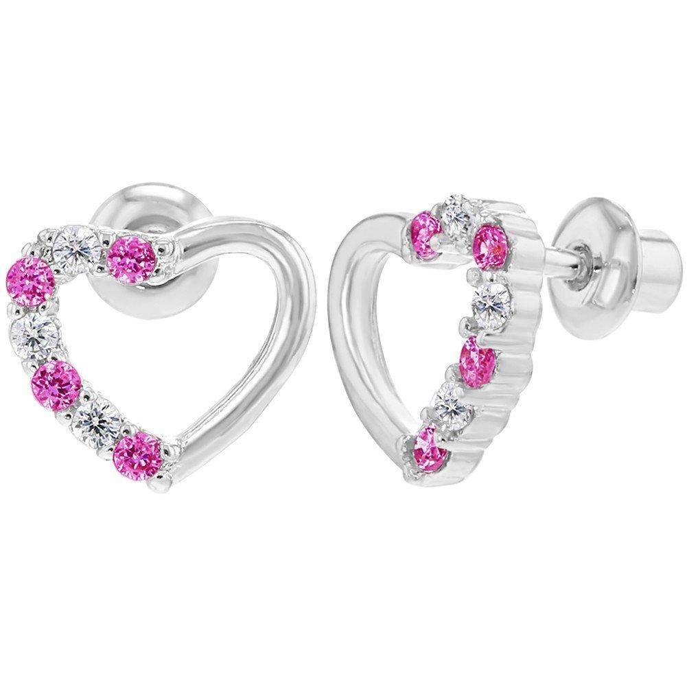 In Season Jewelry - Bébé Enfants - Coeur Boucles d'oreilles - Plaqué Rhodium - Clair et Rose Cristal - Tiges poussettes sécurité à vis 03-0783