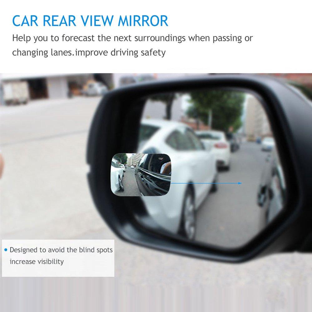 HITECHLIFE 2 st/ücke Auto Blinden Fleck Spiegel Auto R/ückspiegel Konvexen Spiegel Weitwinkel 360 Grad Spiegel Rotation