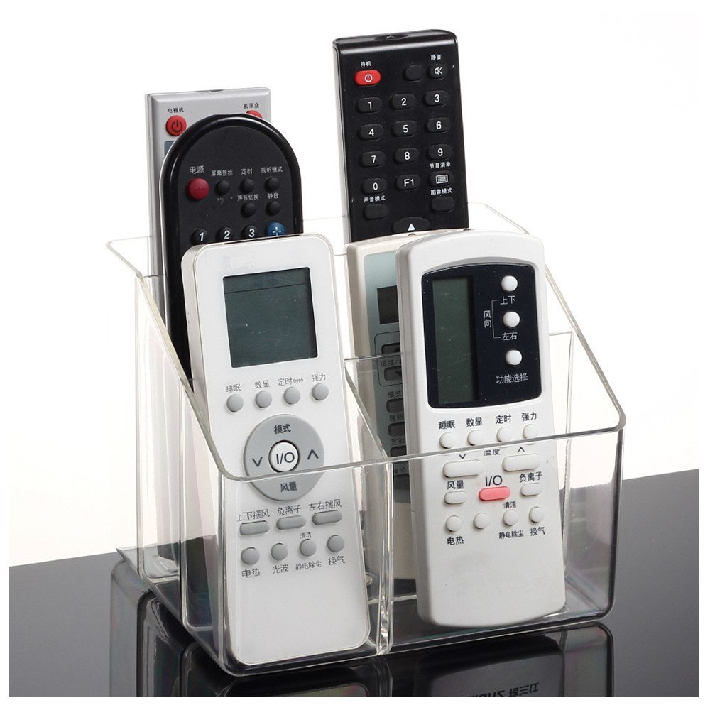Teeta Space Saving Acrylic TV Remote Control Storage Organizer Caddy