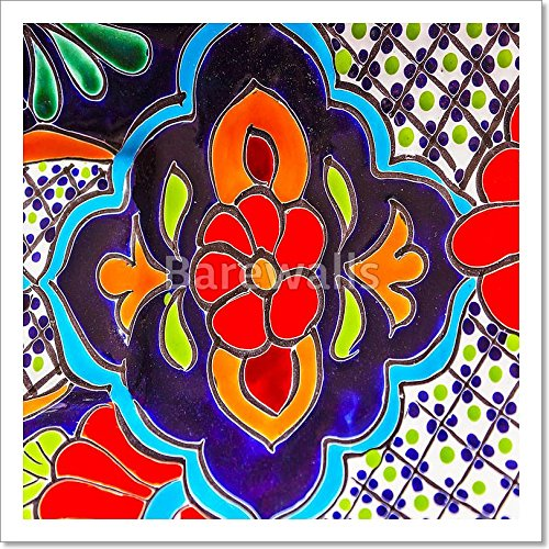Colorful Ceramic Red Blue Flowers Pot Dolores Hidalgo Mexico Gallery Wrapped Canvas Art (12in. x (Hidalgo Flower)