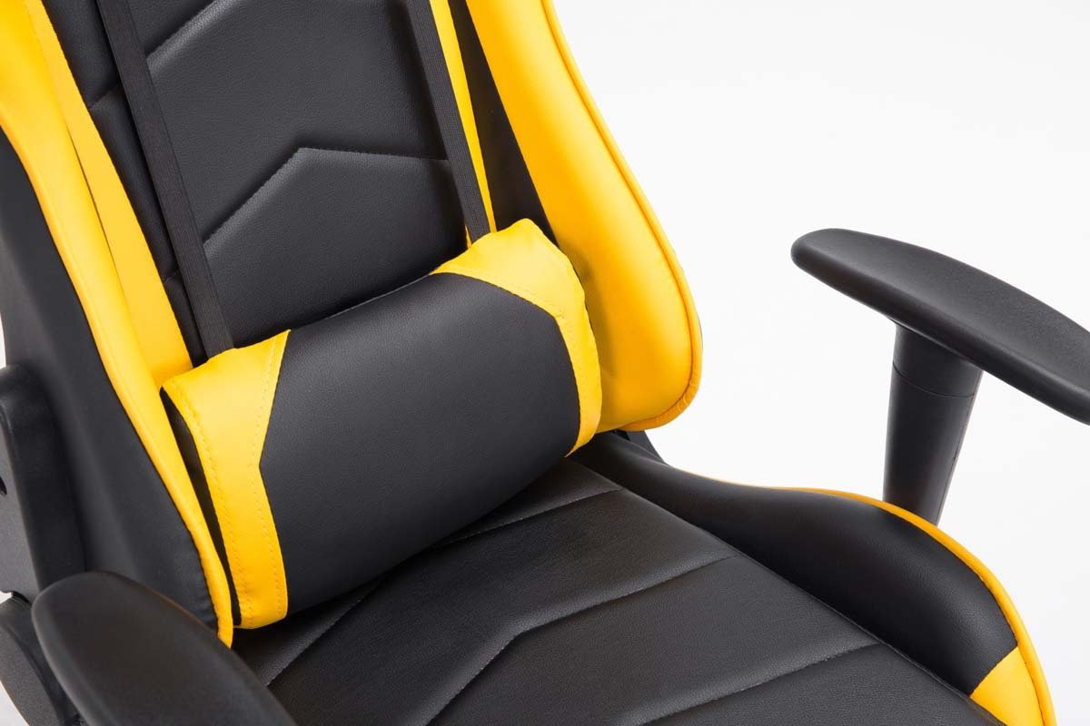 CLP Silla Racing XXL Miracle en Cuero Sintético I Silla Gaming Regulable en Altura I Silla Gamer con 2 Cojínes Removibles I Color: Negro/Amarillo: ...