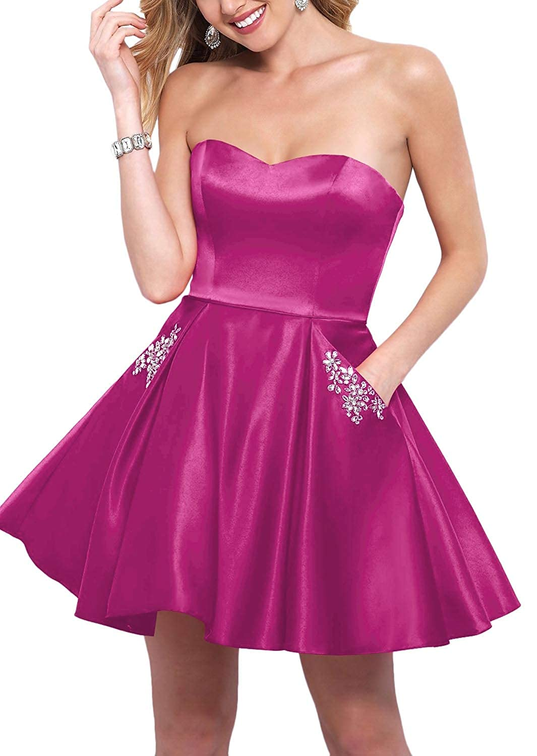 Hot Pink YnanLi Dress Short Ball Gown Homecoming Dresses 2019 Strapless Sweetheart with Beaded Pockets