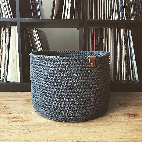 Handmade Crochet Basket Grey Big Basket Storage Kids Room Living Room Decor  Scandinavian Style Modern Look