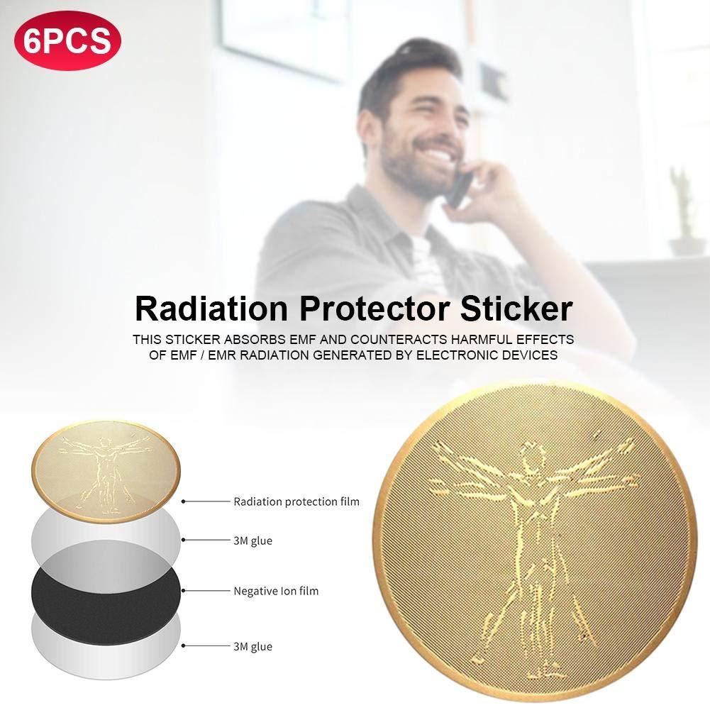 6pcs Anti Radiation Protector Sticker Iones Negativos Bloqueador EMF para tel/éfonos m/óviles Laptop Todos los Dispositivos electr/ónicos