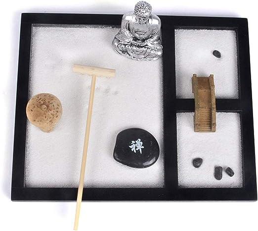 sdgfd Mini meditación jardín Zen, Base de Madera, Buda, Arena Blanca, Resina, Tai Ji Mental, Adorno Chino: Amazon.es: Hogar