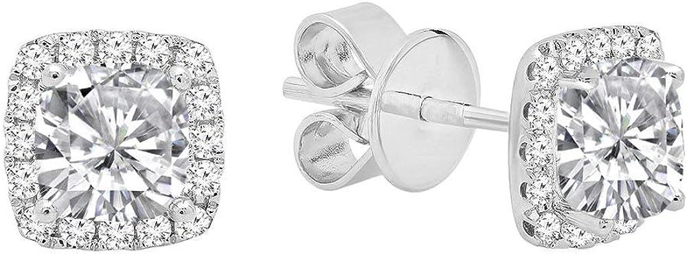 DazzlingRock Collection 18k Oro Corte de Piedras Preciosas y Corte Redondo Diamante Mujer halo Stud Pendientes Zafiro Blanco