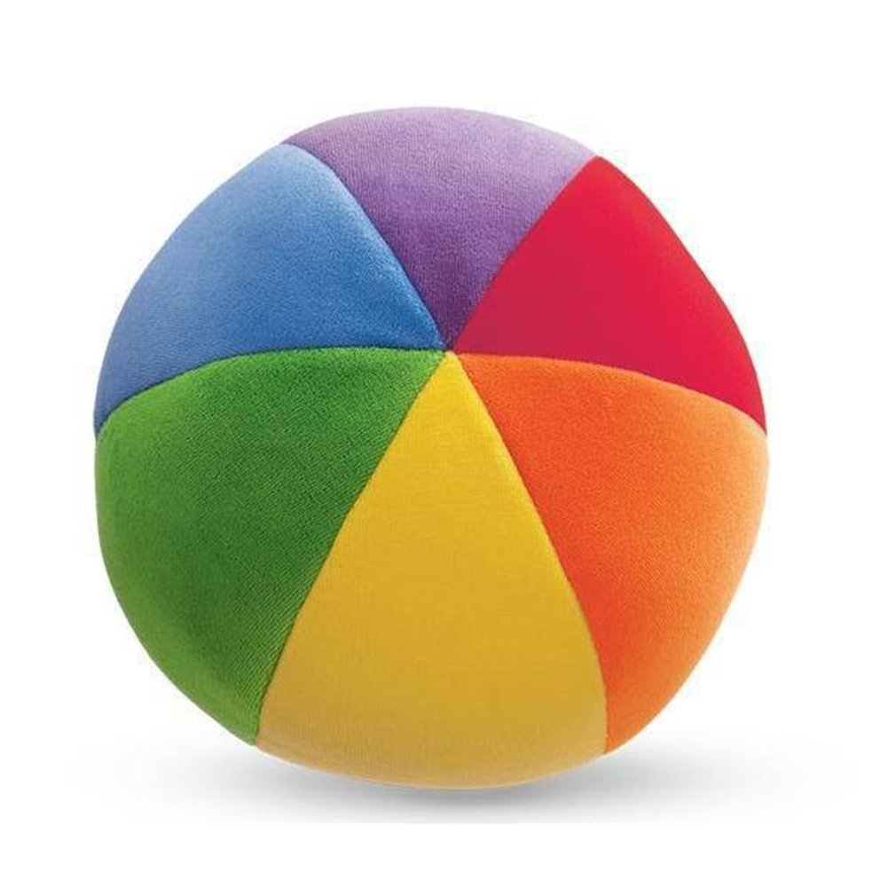 OLizee 7.9 inch Soft Comfortable Baby Kid Infant Children Colorful Sensory Crawling Hand Grasp Multicolour Color Toys Cloth rainbow Sound Ball Bell Learning Educational Toy( Rainbow)